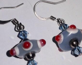 Blue UFO earrings