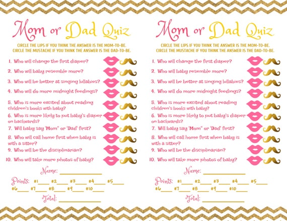 baby shower game mom dad quiz pink gold etsy