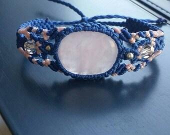 Macrame bracelet; rose quartz bracelet, gypsy bracelet ,boho,bohojewelry