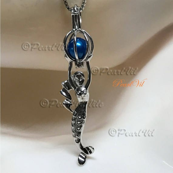 Oracle of Moon And Star Pearl Cage Pendant 925 Sterling Silver Option Chain USA