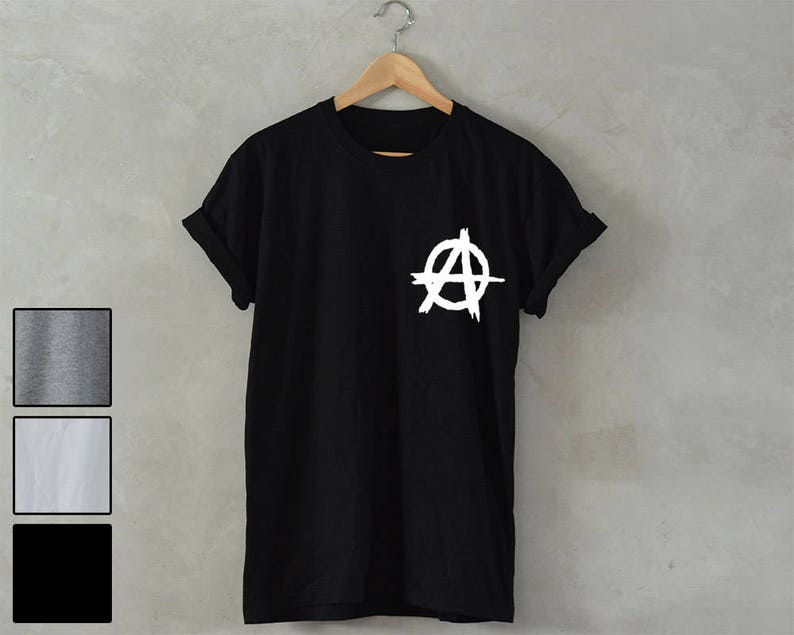 Anarchy Logo T Shirt Symbol Sign Shirt Unisex Red Print Design Tee Top