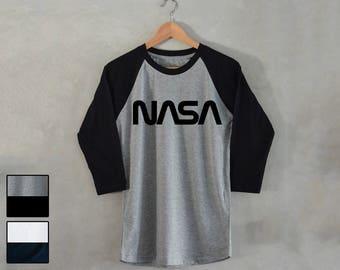 NASA T-Shirt Nasa Shirt space galaxy 3/4 Raglan Baseball Shirt tee astronaut Alien Ufo tee S M L XL