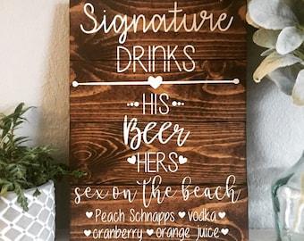 Signature Drinks Signs, Wedding Decor, Wedding Drink Menu,