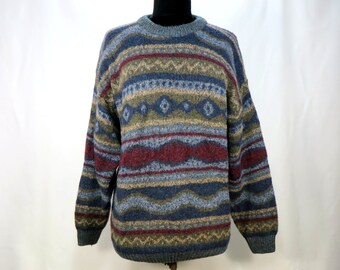 e5007ee707b48 Vintage Scottish Wool Sweater. Nor Easterly Scotland Oversize Knit Sweater.  Fair Isle Jumper Pullover. gray blue burgundy stripes. M L