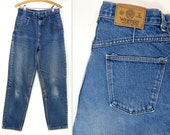 80s Vintage WRANGLER Denim Blue Jeans Made in USA High Waist 13 quot Rise Tapered Legs Distressed Medium Wash Denim Pants Size Junior 13 W29xL30