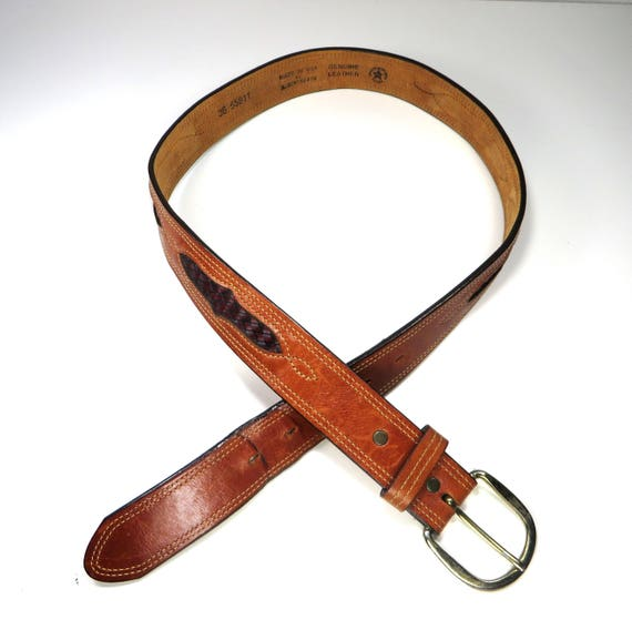 Hammered Brass Buckle Boho Unisex Cognac Leather Belt 70s Hippie Wide Thick Brown Leather Belt M L Fits up to  26 28 30 32 33