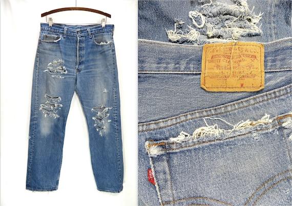 434399b6 34W Distressed LEVIS 501 Button Fly Denim Blue Jeans. Vintage | Etsy