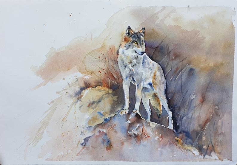 wolf original watercolor grey wolf wall art  14x 20 inches wildlife wolf wall decor brown grey wolf portrait