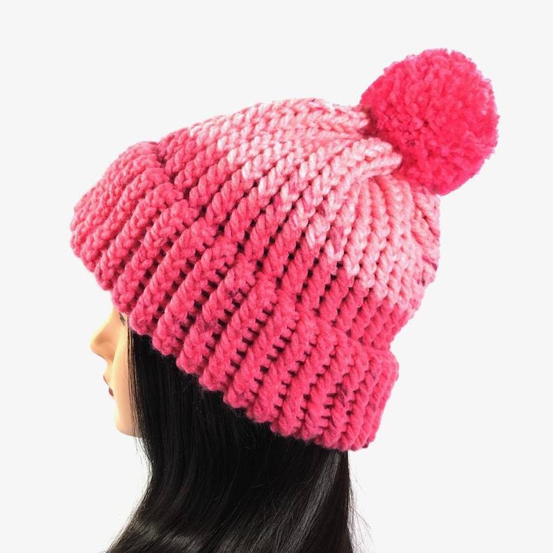 1d35c667f8576 Chunky Knit Beanie Pink Knit Hat with Brim and Pom pom