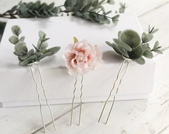 Blush Pink Artificial Floral Hair Pin Set-Silk Wedding Flower Hair Accessories-Wedding Flower Boho Style Bridesmaid Head Piece