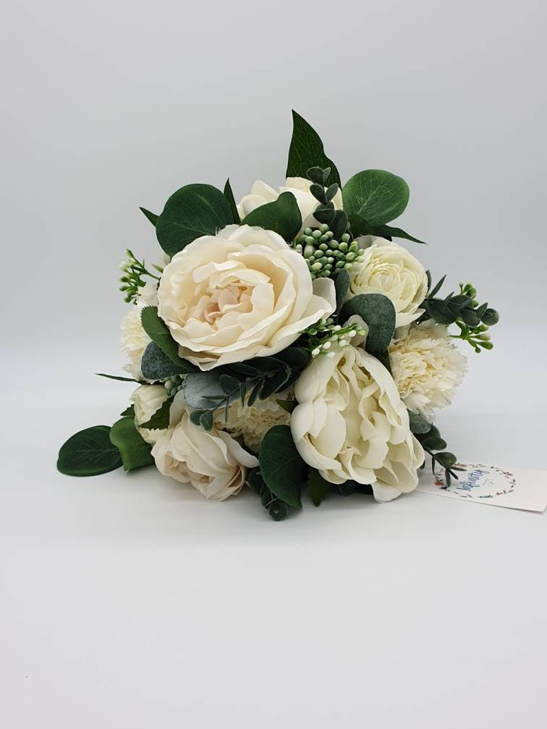 Artificial white and ivory bridal bouquet-white rose wedding bouquet-Ivory peony bridesmaid bouquet-Wedding flower bouquet-Bouquets
