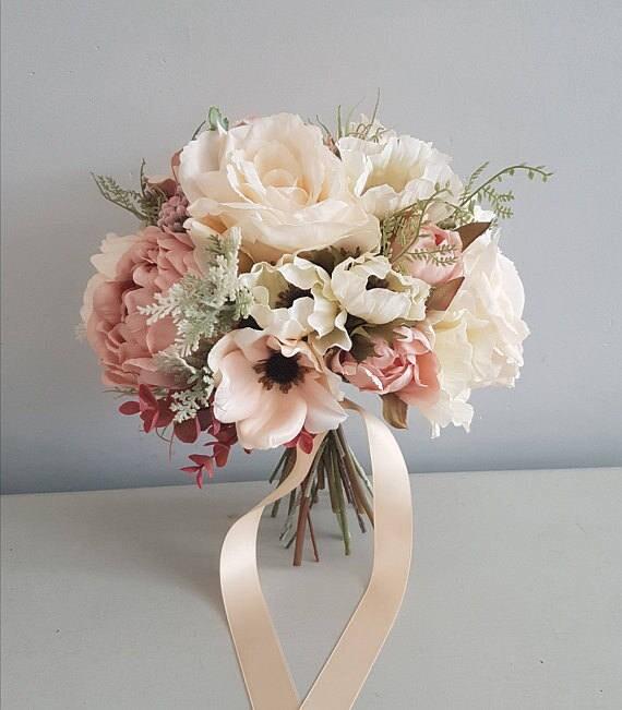 Erroten Sie Hochzeit Blumenstrauss Braut Strauss Seide Etsy