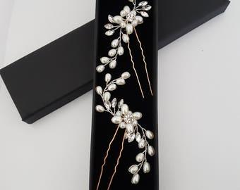 Bridal  pearl hair pin accessories-Bridal hairpiece-Bridal hair accessories- Wedding accessories