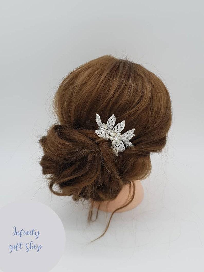 Silver crystal bridal hair comb-Bridal pearl