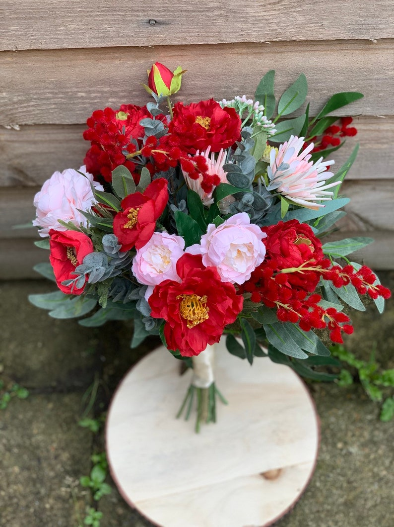 Tessa Cranberry Red Pink Artificial Flower Bridal Bouquet-Real touch silk  red  pink flower bridal bouquet Floral arrangement.