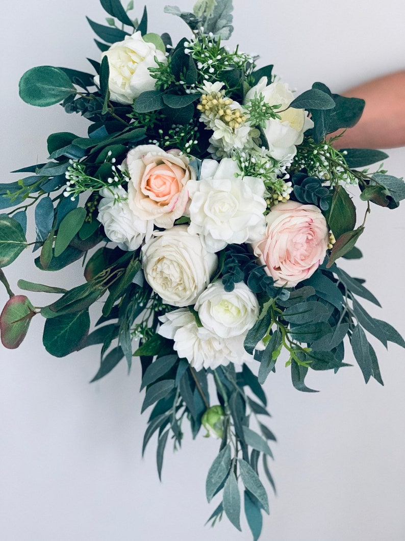 blush real touch artificial wedding bouquet - bridal wedding flower bouquet  - silk bridal flower bouquet - bridesmaid flower bouquets