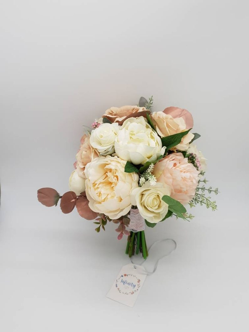 White And Rose Gold Wedding Bouquet