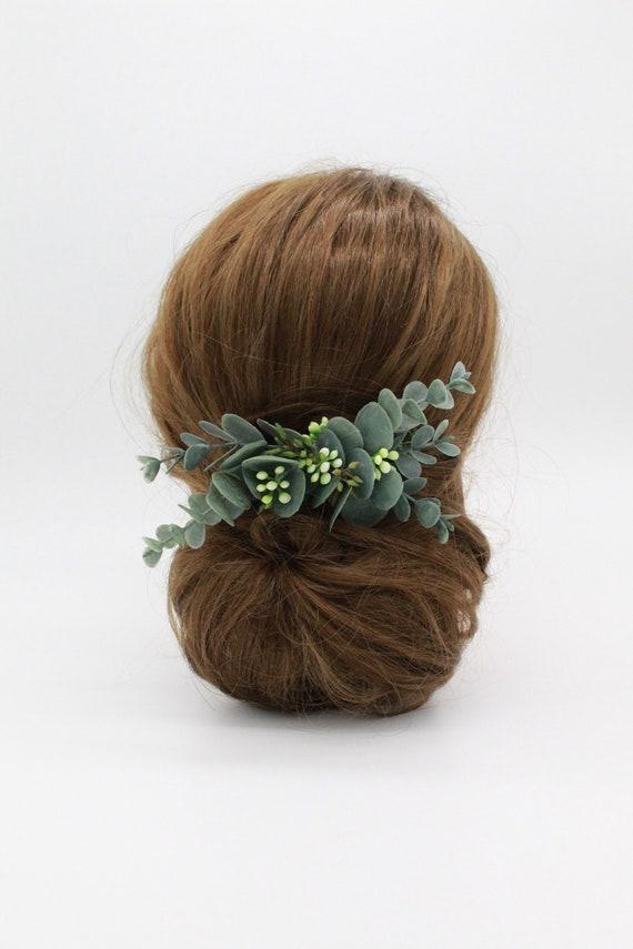Real touch eucalyptus foliage hair accessory-Wedding foliage head piece-Boho style hair comb-Bridal hair accesories-Artificial hair comb