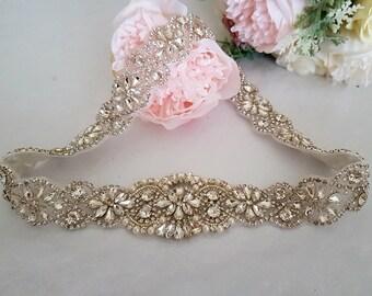 Bridal vintage belt- Bridal sash - Rhinestone crystal belt
