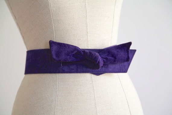 Vintage Ungaro Parallele Paris Purple Suede Bow Be