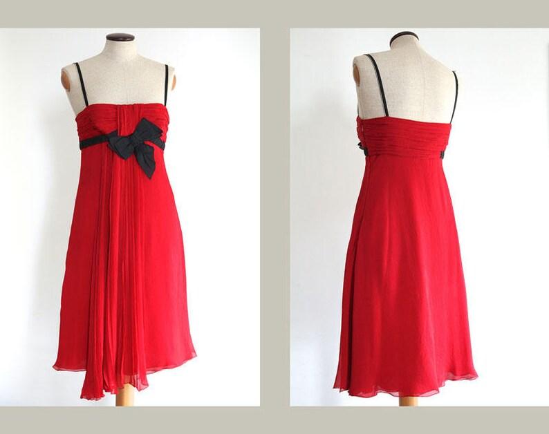 25fc180cfd8 Prada Red Silk Dress Prada Red With Black Grosgrain Ribbon