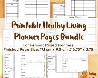 printable health planner for a5 planners health journal etsy