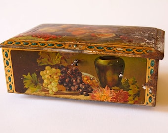 French Vintage Collectible Tin with Hinged Lid Home Decor Storage