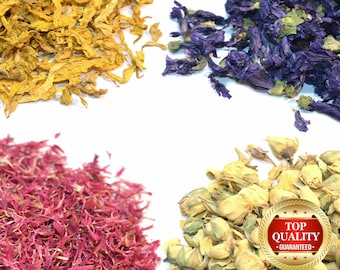 Natural Dried Flowers & Petals 60+ Types! Herbal Tea Supplies, Infusion Gin Tonic Botanicals - Highest Quality Flowers - Free UK Shipping