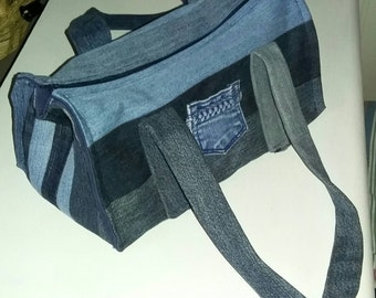Handmade and upcycled denim shoulder bag