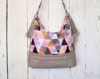 Hobo Vegan Bag Pink Handbag Shoulder Bag, kraft-tex, Washpapa,