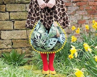Monstera Leaves Velour Sack Bag