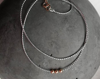 Minimalist chain with rose gold filled beads/length customizable/Well combinable/gift for you/timeless/handmade/single piece