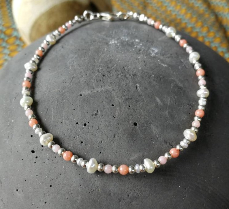 Summer bracelet with Astkorallperlenfreshwater pearlssterling silver beads18.5 cmhand workgift for yousingle pieceMother/'s Day
