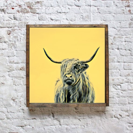 Highland Cow Art Print Farm Animal Wall Art Animal Canvas