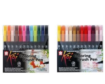 Sakura Koi Coloring Brush Assorted Color Pen Set | Pk 12 24 | Japan Calligraphy Lettering Art Craft Watercolour Colour Blender Marker