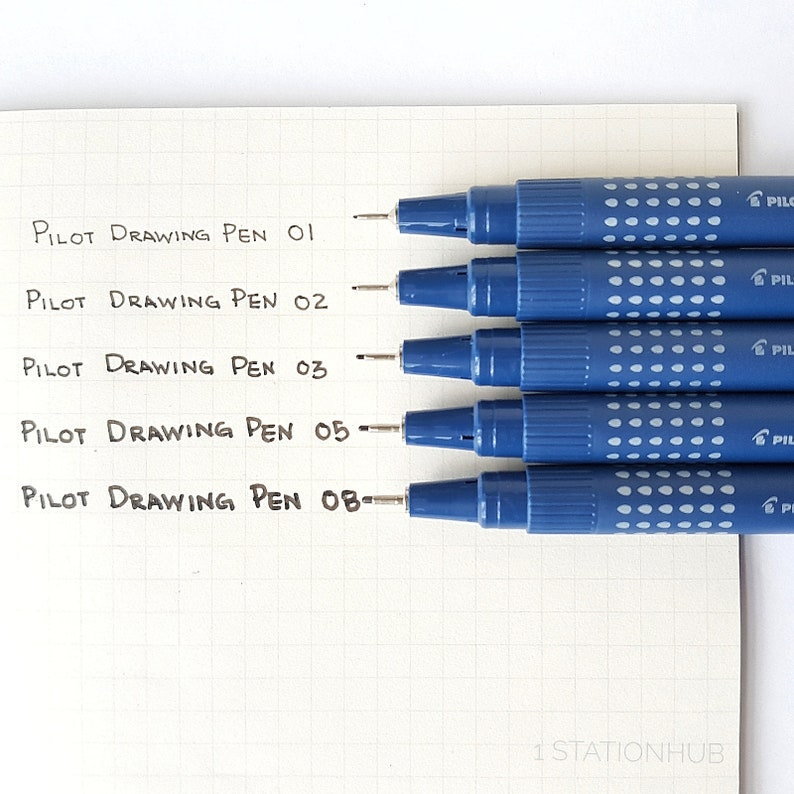 Sketch Doodle Art Study School Office Art Craft Bujo Graphic 5 Pilot Drawing Pen 01 02 03 05 08 Black Color Ink