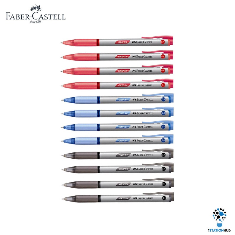 Faber Castell Grip X4 Retractable Ballpoint Pen 0 4mm Black Blue Red  Writing School | 12 Pens