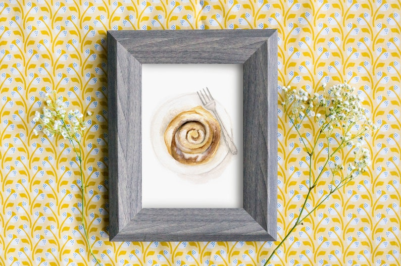 Cinnamon Roll Watercolor PRINT image 0