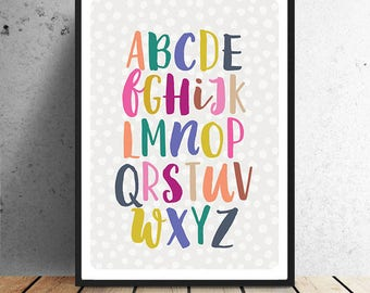 Poster, ABC, Alphabet, typography, cheerful, children, children's room, baby room, dots, letters, wall decoration, wall art, graphic design
