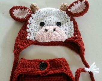 Crochet Cow Hat and Diaper Cover Set 32525644c26