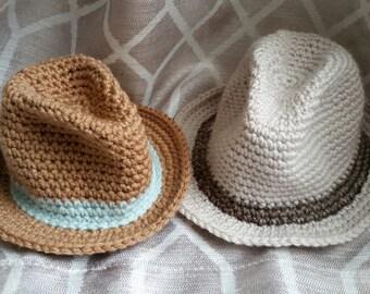e2a1bbd483bf2 Crochet Little Man Fedora - Infant - Baby - Toddler