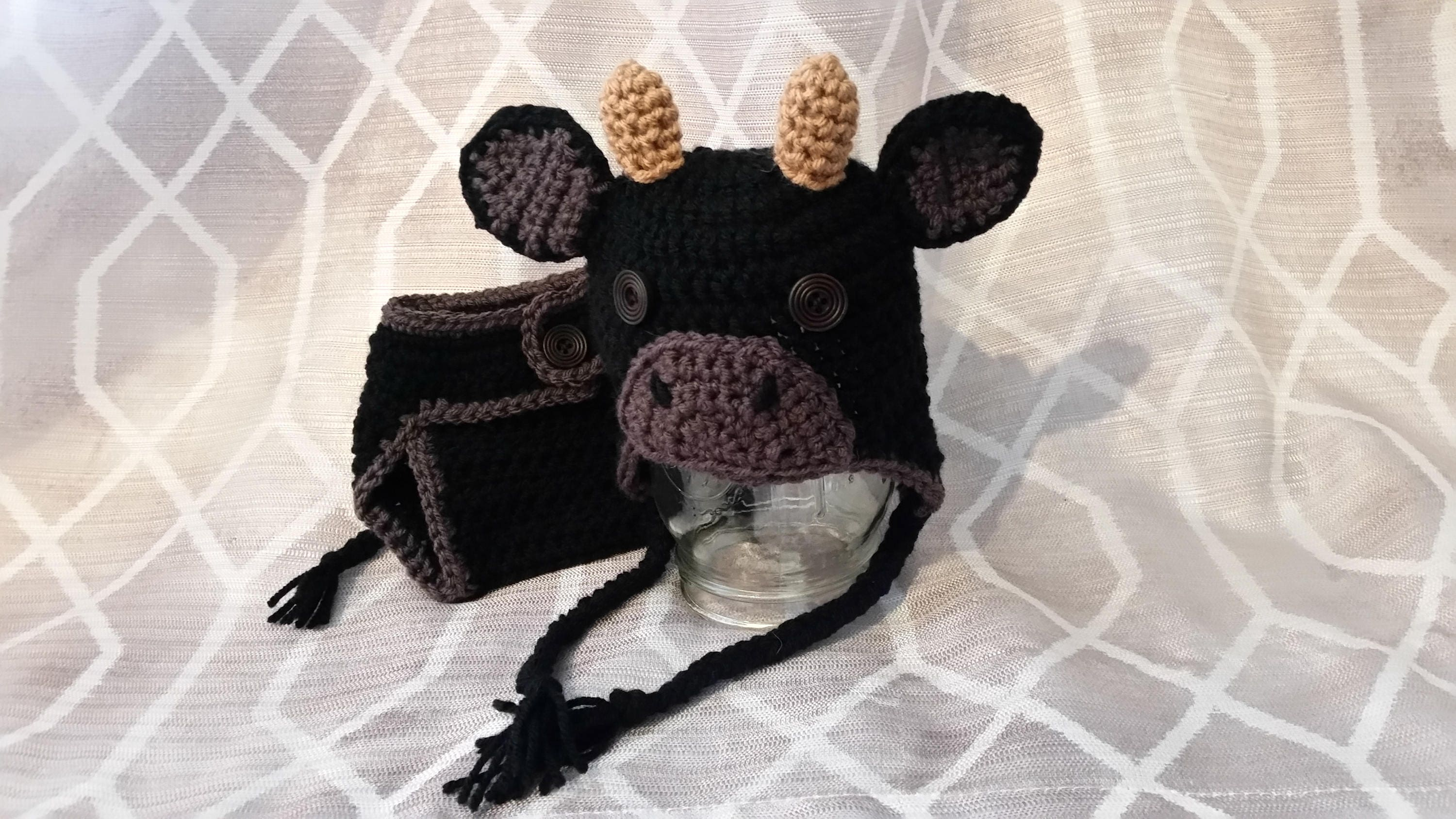 Crochet Cow Hat   Diaper Cover infant baby toddler  d7a66b04897