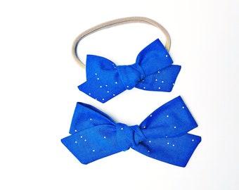 Cobalt Sprinkles Hand-tied - Baby, Toddler, Girls Fabric Bow Headband or Hair Clip, Nylon Baby Headband, Bow Hair Clip