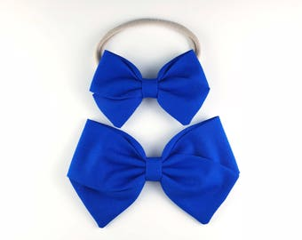 Royal Blue Bow - Baby, Toddler, Girls Fabric Bow Headband or Hair Clip, Nylon Baby Headband, Bow Hair Clip