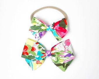 Flower Market Bow - Baby, Toddler, Girls Fabric Bow Headband or Clip, Summer Bow, Nylon Bow Headband, Bow Hair Clip