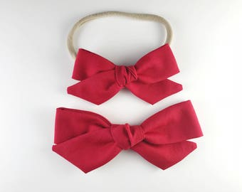 Rhubarb Red Hand-tied Bow - Baby, Toddler, Girls Fabric Bow Headband or Clip, Red Bow, Nylon Bow Headband, Bow Hair Clip