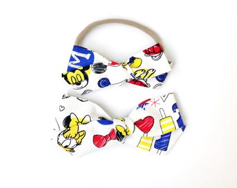 Mickey and Friends Hand-tied - Baby, Toddler, Girls Fabric Bow Headband or Hair Clip, Nylon Baby Headband, Bow Hair Clip