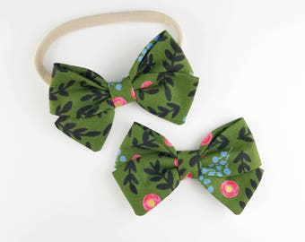 Pink and Olive Flowers - Baby, Toddler, Girls Fabric Bow Headband or Hair Clip, Nylon Bow Headband, Bow Hair Clip, Rifle Paper Co Bow