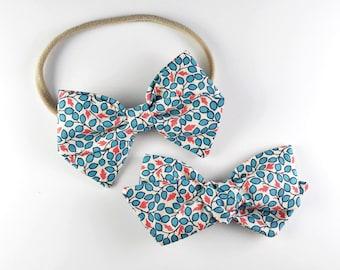 Blue Berries - Baby, Toddler, Girls Fabric Bow Headband or Hair Clip, Nylon Baby Headband, Bow Hair Clip, Bow Hair Clip
