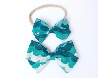 Amalfi Waves Bow - Baby, Toddler, Girls Fabric Bow Headband or Clip, Amalfi Fabric, Nylon Bow Headband, Bow Hair Clip